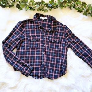 Elizabeth And James Flannel Cropped Button Down